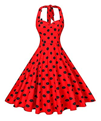 V fashion Women's Rockabilly 50s Vintage Polka Dots Halter Cocktail Swing Dress