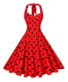 Search : V fashion Women's Rockabilly 50s Vintage Polka Dots Halter Cocktail Swing Dress