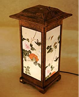 Carved wood lamp shade with three story pagoda design handmade art mulberry rice paper shade handmade four flower folk painting design square brown lantern asian oriental decorative mozeypictures Image collections