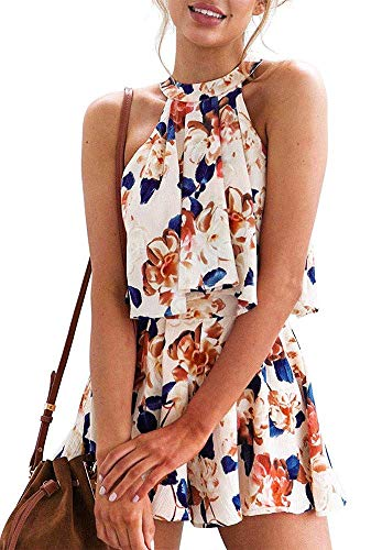 Rompers for Women Summer Casual Floral Short Jumpsuits Sleeveless Playsuit 2 Piece -