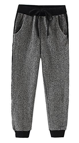 Dasnh Boy's Kids Slim Classic Basic Jogger Side Stripe Casual Cotton Pants Trouser,Gray,12 Classic Knit Sweatpants