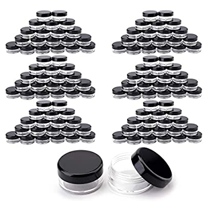 Tosnail 120 Pieces 3 Gram Clear Plastic Cosmetic Containers with Black Lids Lip Balm Containers Beads Organizer