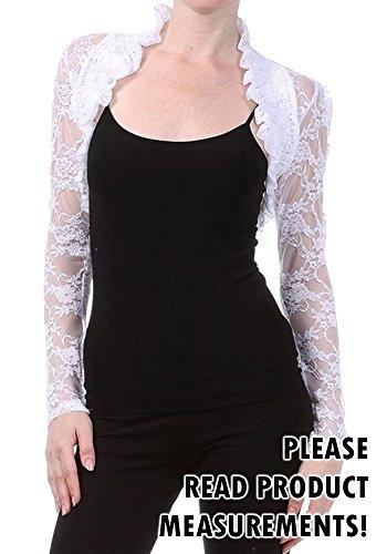 Lace Shrug Long Sleeve Sheer Stretch Cropped Bolero