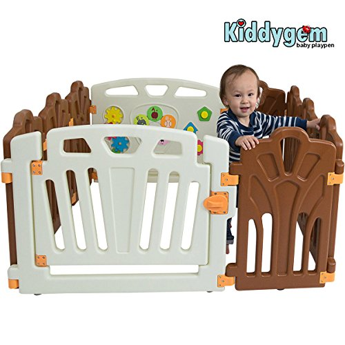 Kiddygem Puzzle and Beep Fun Baby 10 Panels Playpen, Brown by KiddyGem