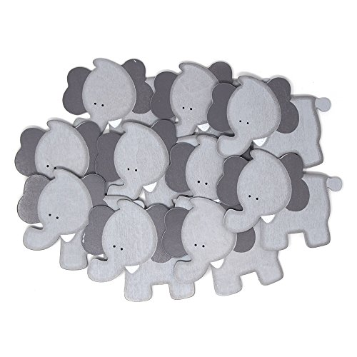 (Homeford Wooden Elephant Animal Cutouts, Grey, 3-1/2-inch, 10-Pack)
