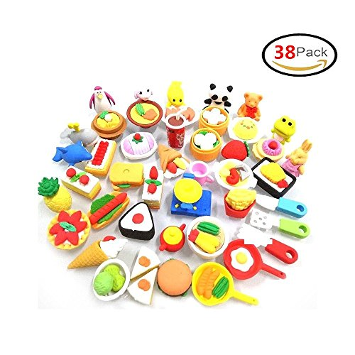 Puzzle Value Pack - 38 PCs Japanese Puzzle Kitchen Food Erasers Value Pack Puzzle Toys Best for Party Favors