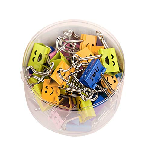 (FORNIC Smile Binder Clips, 25 mm, Assorted Color, 48 Pcs per Tub)