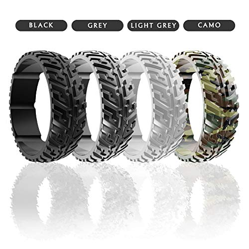 DSZ Silicone Wedding Ring for Men Sports Rubber Band for Heavy Duty - Unique Jeep Tire Tread Design with Groove for Extra Comfort (Best Couple Ring Design)
