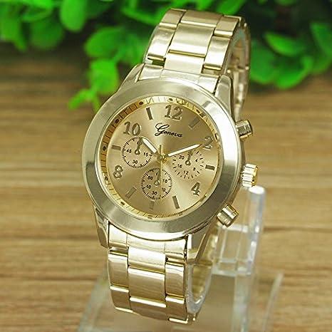 HULKY - Reloj de pulsera unisex de acero inoxidable con mecanismo de cuarzo, para mujer y hombre: Amazon.es: Iluminación