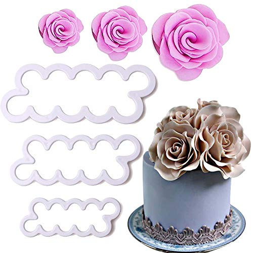 Palker Sky Cake Decorating Gumpaste Flowers & The Easiest Rose Ever Cutter Pack of 3 ()