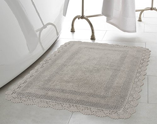 Laura Ashley Crochet Cotton 24x40 Bath Rug, Light Grey ()