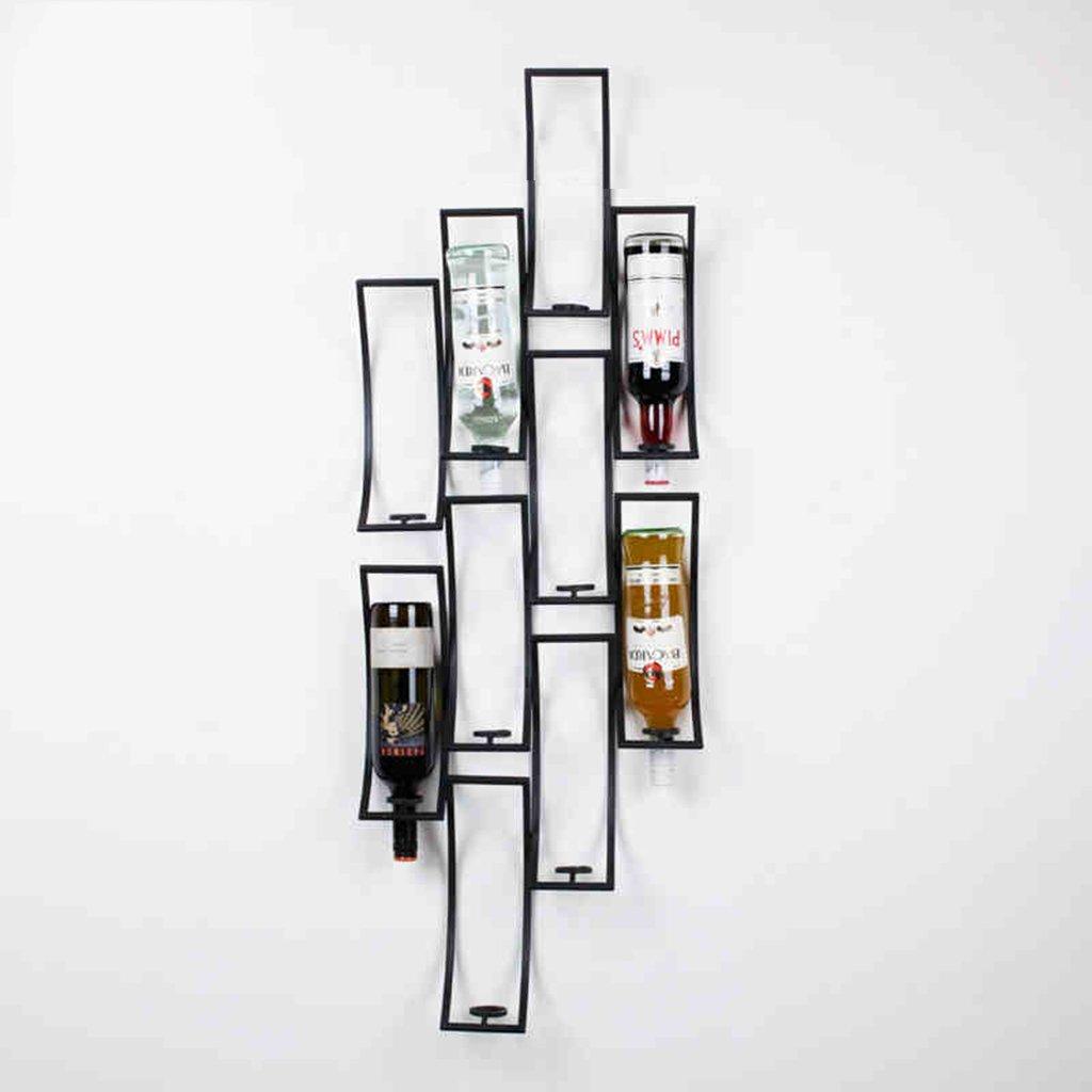 ワインラック壁掛けキッチンバーセラー地下の家庭装飾品、10本のボトルアイロン強くて丈夫なディスプレイ収納スタンド B07D787HZP