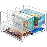 mDesign Kitchen Cabinet Storage Organizer Flip Rack for Aluminum Foil, Canned Goods - Clear