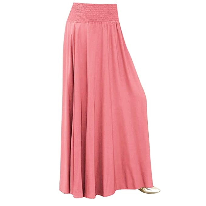 HULKY Womens Basic Solid Stretch Elastic High Waist Flare Knee Length A Line Skirts with Pockets