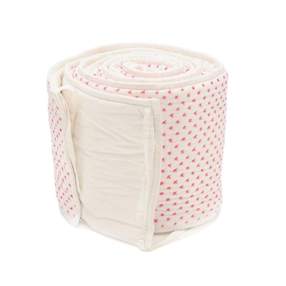 Auggie Crib Bumper, Cross Stitch/Pink