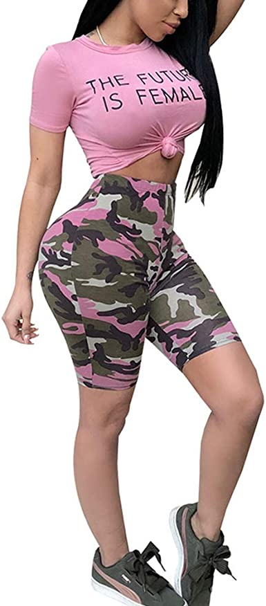 Conjunto de pantalón Corto y Top para Mujer, 2 Piezas, Camiseta ...