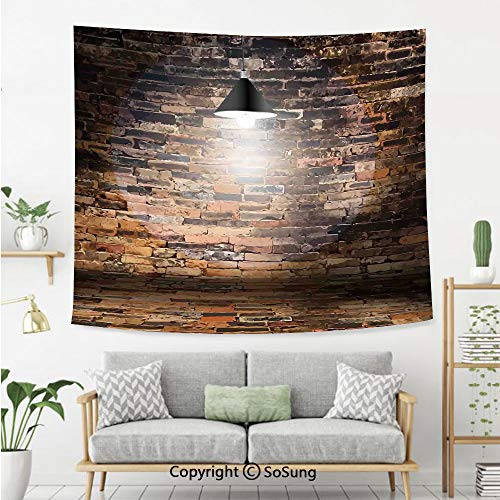 SoSung Rustic Home Decor Wall Tapestry,Dark Cracked Bricks Ceiling Lamp Spot Light Life Building Urban City Image,Bedroom Living Room Dorm Wall Hanging,60X50 Inches,Black Red