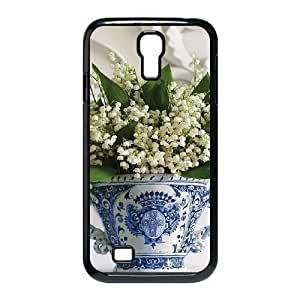 DIY Cover Case with Hard Shell Protection for SamSung Galaxy S4 I9500 case with blue and white porcelain lxa#493533