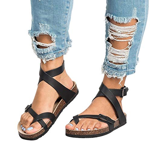 Chenghe Women's Fashion Flat Ankle Buckle Sandals Gladiator Thong Flip Flop Mayari Sandals Black US 5.5 (Women For Ankle Sandals)