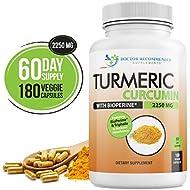 Turmeric Curcumin - 2250mg/d - 180 Veggie Caps - 95% Curcuminoids with Black Pepper Extract (Bioperine) - 750mg Capsules - Most Powerful Turmeric Supplement with Triphala