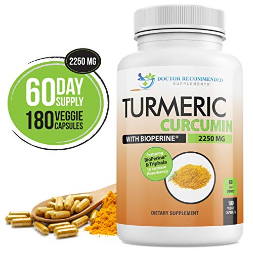 Turmeric Curcumin  2250mg/d  180 Veggie Caps  95% Curcuminoids with Black Pepper Extract Bioperine  750mg Capsules  Most Powerful Turmeric Supplement with Triphala