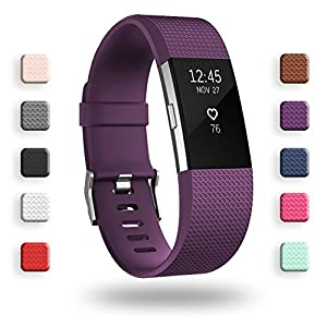 POY Replacement Bands Compatible for Fitbit Charge 2, Adjustable Sport Wristbands, Large Purple 1PC