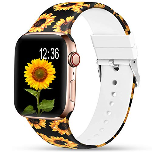 Sunnywoo Sport Band Compatible with Apple Watch 38mm 40mm 42mm 44mm, Soft Silicone Floral Fadeless Strap Replacement Bands for iWatch Series 4, Series 3, Series 2, Series 5,Sport Edition Women Men