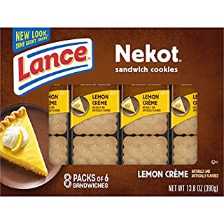 Lance Sandwich Cookies, Nekot Lemon Creme, 8 Count Box (Pack of 14)