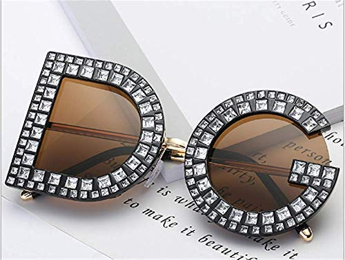 (GONGFF Sunglasses Individual Letter Diamond Sunglasses)