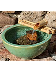 """Bamboo Accents Water Fountain for Patio, Indoor/Outdoor Fountain, 12"""" Wide Three-Arm Style Base, Smooth Split-Resistant Bamboo to Create Your Own Zen Fountain"""
