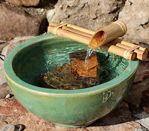Water Pottery Fountain - Bamboo Accents Water Fountain for Patio, Indoor/Outdoor Fountain, 12