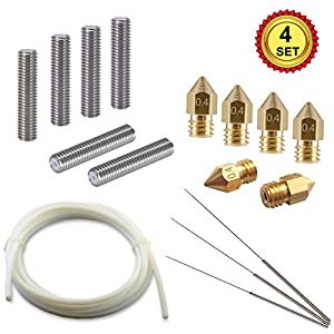 3D Printer Tool Kit, 6pcs Extruder 30mm M6 Tube + 6pcs 0.4mm MK8 Brass Extruder Print Head + 3pcs Cleaning Tool Kit + 2M PTFE Tube, Premium 3D Printer Parts and Accessories by DOBSTFY