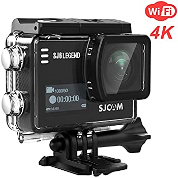 SJCAM SJ6 Legend 4K Wifi Action Camera Dual Screen- 2.0 TouchScreen/ 0.9 Front LCD Screen/ 170 Degree Wide Angel/ Gyro Stabilization/ External Microphone Supported (Black)