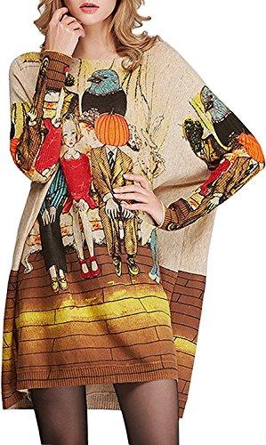 BKXRH Women's Knit Comfy Fit Halloween Weird Basic Jumper Pullover Sweater