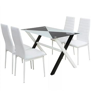 WEILANDEAL Conjunto mesas y sillas de Comedor Cinco Piezas Cuero ...