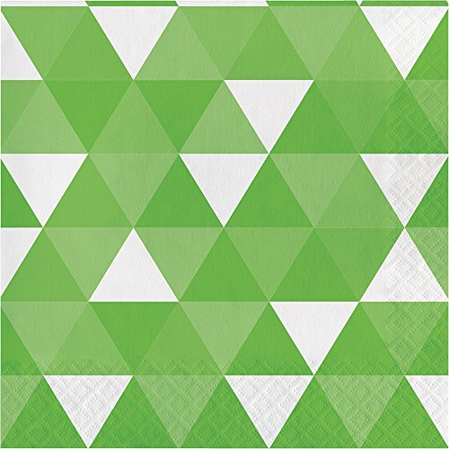 Creative Converting 319978 192 Count Lunch Paper Napkins, Fractal Fresh Lime