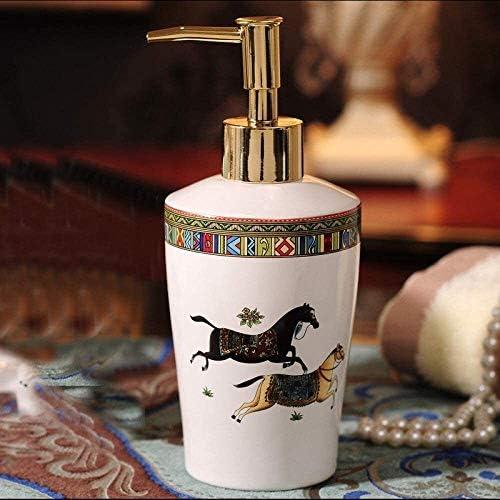 YIWANGO Soap Dispenser PumpShower Gel Empty BottleWhite Ceramic JarHorse Animal Pattern Storage ContainersGolden Pressing Pump NozzleKitchen Bathroom Hotel soap Dispenser