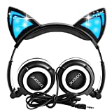 Cat Ear Headphones,barsone Kids Headphones Wired Foldable On Ear Headsets with LED Glowing Light 3.5mm Audio Jack Headset for Children (Black)