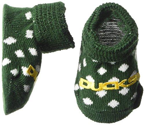 NCAA Oregon Ducks Infant Polka Dot Gift Box Booties, New Born, Green/White