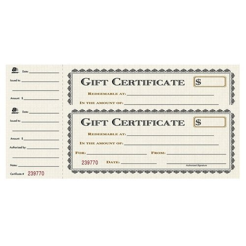 Adams Gift Certificate Book, Single Paper, 3.25 x 11 Inches, Cream, 25 Numbered Certificates (GFTBK1) (2 Pack)