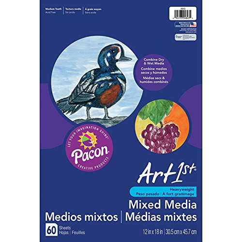 Pacon PAC4843 Art1st Mixed Media Art Paper, 12'' x 18'', White, 60 Sheets by Pacon