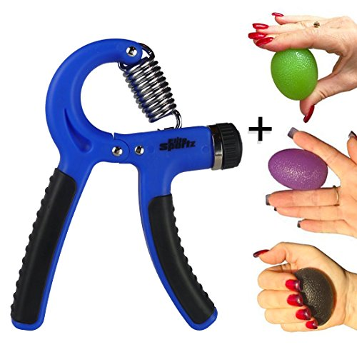 Elite Adjustable Hand Gripper and 3 Hand Grip Balls Resistance Range of 22lbs to 88lbs