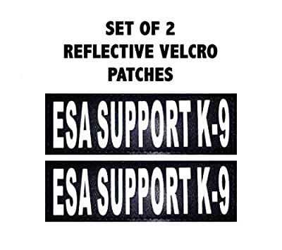 "Set of 2 Reflective ""ESA Support K-9"" Velcro Patches for Service dog harnesses & vests."