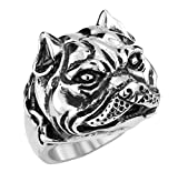 fitbit band bulldog - Aooaz 316L Stainless Steel Mens Ring Bands Bulldog Silver Size 12 Punk Gothic Vintage Novelty Ring
