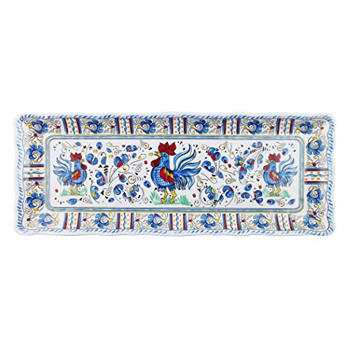 Le Cadeaux Rooster Blue Baguette Tray 15 by 6 inches