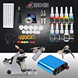 Professional Complete Tattoo Kit 1 Top Machine Gun 10 Color Ink Needle Power Supply