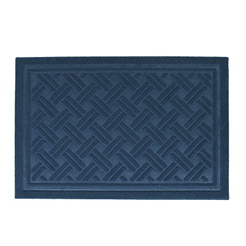 Front Door Mat Outdoor Entrance Mat Rug, Waterproof Floor Mat Shoes Scraper Cross Hatch Doormat, 16''x24'' Patio Rug Dirt Debris Mud Trapper Out Door Mat Low Profile Washable Carpet (Dark Blue)