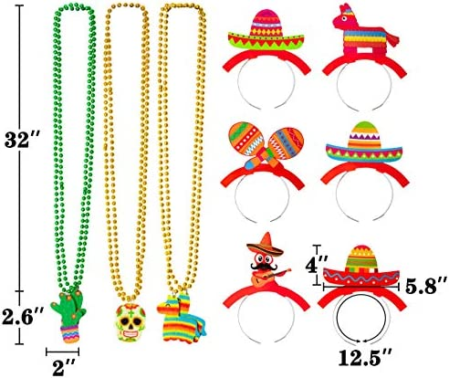 12PCS Cinco De Mayo Decorations Sombrero Hat Headbands Necklaces Fiesta Mexican Party Favors Supplies