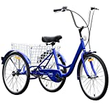 Goplus Adult Tricycle 3-Wheel Bicycle Single Speed w/ Bell Brake Bike...