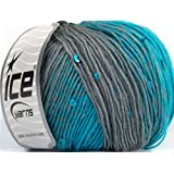 Lot of 6 Skeins Ice Yarns YARNS Wool Paillette Turquoise Grey